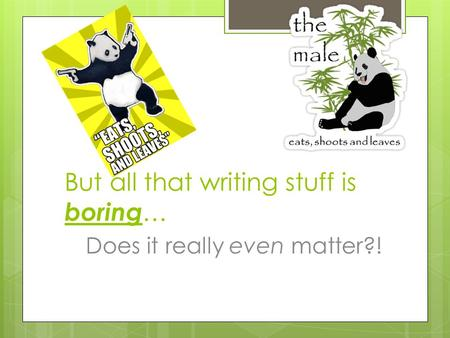 But all that writing stuff is boring … Does it really even matter?!