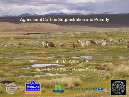 Agricultural Carbon Sequestration and Poverty John M. Antle Dept of Ag Econ & Econ, Montana State U.