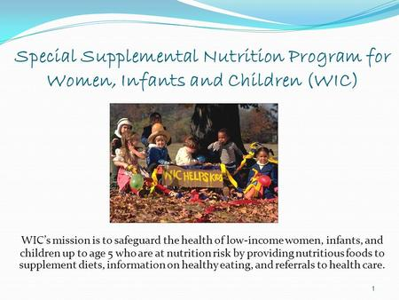 Special Supplemental Nutrition Program for Women, Infants and Children (WIC) WIC's mission is to safeguard the health of low-income women, infants, and.