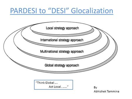 "PARDESI to ""DESI"" Glocalization By Abhishek Tammina ""Think Global …. Act Local. ……"""