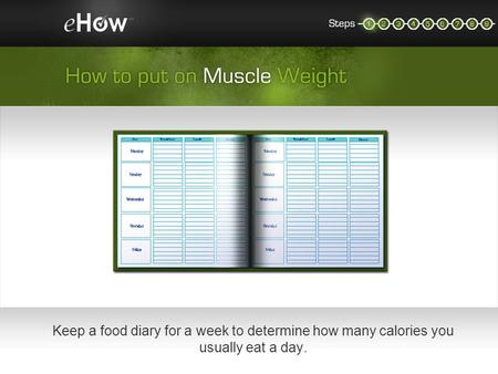 Keep a food diary for a week to determine how many calories you usually eat a day.