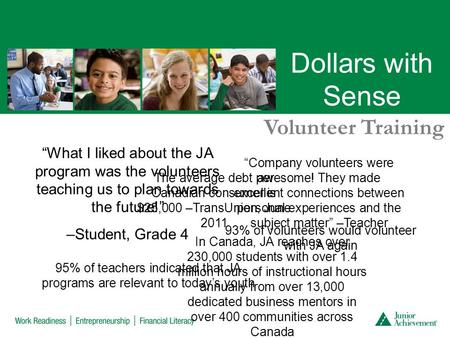 "Dollars with Sense Volunteer Training ""What I liked about the JA program was the volunteers teaching us to plan towards the future!"" –Student, Grade 4."