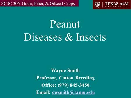 Peanut Diseases & Insects SCSC 306: Grain, Fiber, & Oilseed Crops Wayne Smith Professor, Cotton Breeding Office: (979) 845-3450