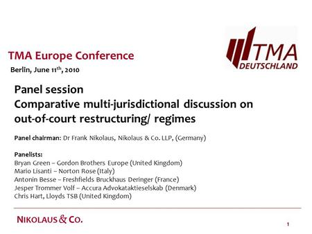 1 N IKOLAUS & C O. Panel session Comparative multi-jurisdictional discussion on out-of-court restructuring/ regimes Panel chairman: Dr Frank Nikolaus,