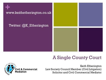 + A Single County Court  Keith Etherington Law Society Council Member (Civil Litigation) Solicitor and.