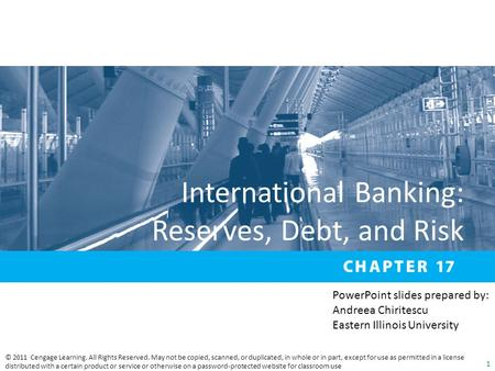 International Banking: Reserves, Debt, and Risk © 2011 Cengage Learning. All Rights Reserved. May not be copied, scanned, or duplicated, in whole or in.