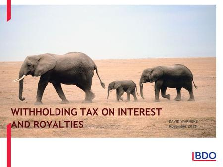 WITHHOLDING TAX ON INTEREST AND ROYALTIES DAVID WARNEKE November 2012.