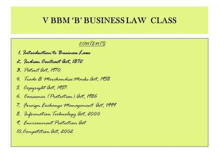 V BBM 'B' BUSINESS LAW <strong>CLASS</strong>