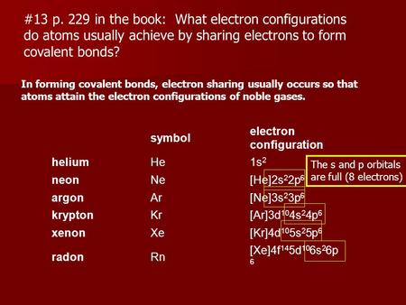 #13 p. 229 in the book: What electron configurations