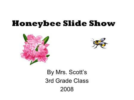 Honeybee Slide Show By Mrs. Scott's 3rd Grade Class 2008.