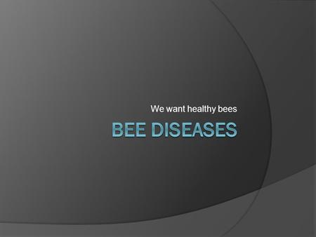 We want healthy bees Bee Diseases.