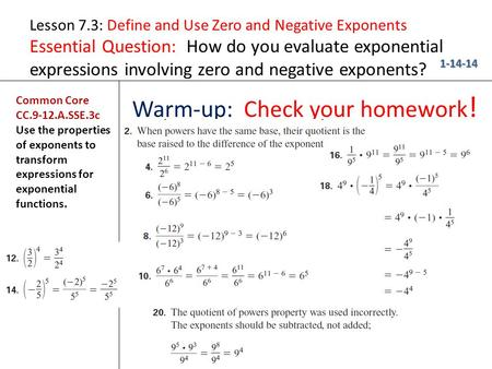 Warm-up: Check your homework!