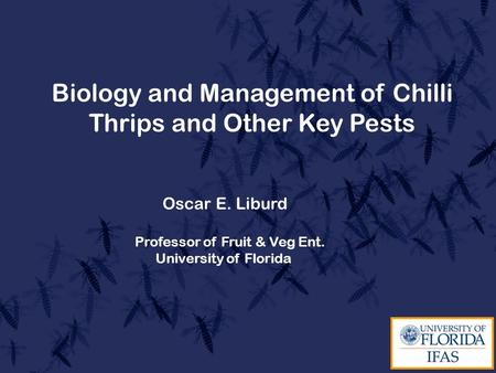 Biology and Management of Chilli Thrips and Other Key Pests Oscar E. Liburd Professor of Fruit & Veg Ent. University of Florida.
