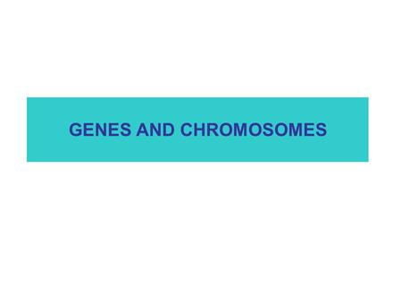 GENES AND CHROMOSOMES.