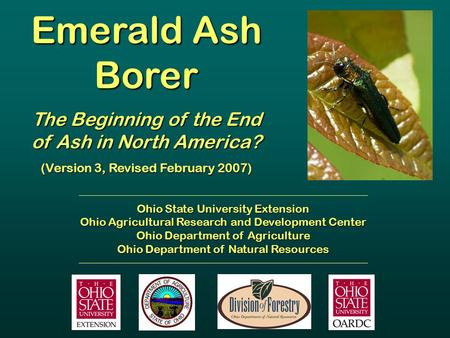 Emerald Ash Borer The Beginning of the End of Ash in North America? (Version 3, Revised February 2007) Ohio State University Extension Ohio Agricultural.