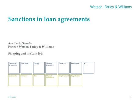 Wfw.com Sanctions in loan agreements 1 Avv. Furio Samela Partner, Watson, Farley & Williams Shipping and the Law 2014.