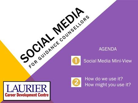 SOCIAL MEDIA FOR GUIDANCE COUNSELLORS AGENDA Social Media Mini-View How do we use it? How might you use it?