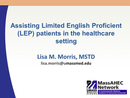 Assisting Limited English Proficient (LEP) patients in the healthcare setting Lisa M. Morris, MSTD