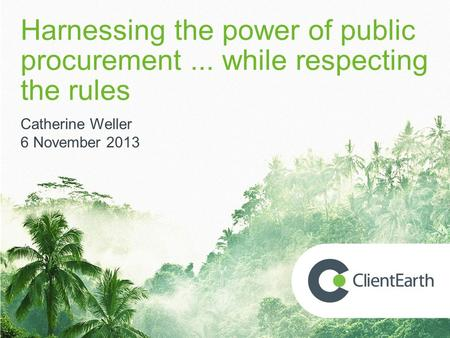 Harnessing the power of public procurement... while respecting the rules Catherine Weller 6 November 2013.