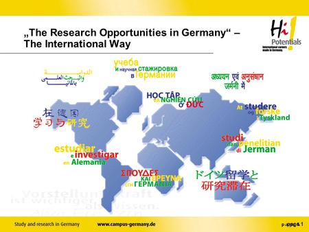 "page 1 ""The Research Opportunities in Germany"" – The International Way."