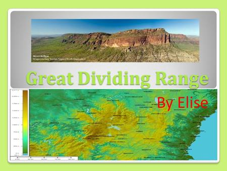 Great Dividing Range By Elise. Where is it? It's on the East coast of Australia, in Australasia The range runs parallel to the East coast of Australia,