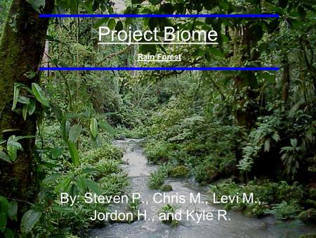 Project Biome By: Steven P., Chris M., Levi M., Jordon H., and Kyle R. Rain Forest.