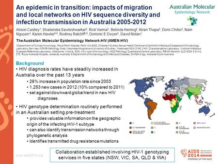 Www.aids2014.org An epidemic in transition: impacts of migration and local networks on HIV sequence diversity and infection transmission in Australia 2005-2012.