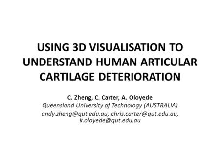USING 3D VISUALISATION TO UNDERSTAND HUMAN ARTICULAR CARTILAGE DETERIORATION C. Zheng, C. Carter, A. Oloyede Queensland University of Technology (AUSTRALIA)