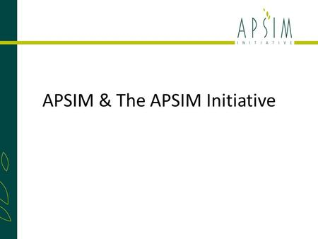 APSIM & The APSIM Initiative. The Agricultural Production Systems Research Unit (APSRU) was founded in the early 1990's to bring together like minded.