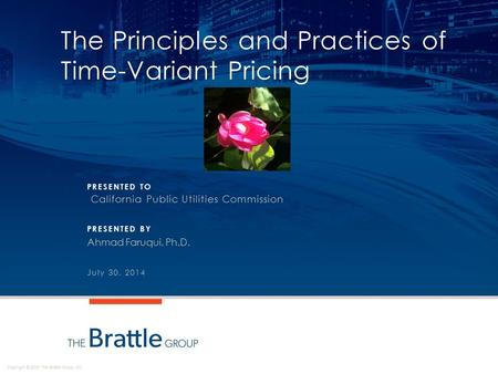 Copyright © 2013 The Brattle Group, Inc. PRESENTED TO PRESENTED BY The Principles and Practices of Time-Variant Pricing California Public Utilities Commission.