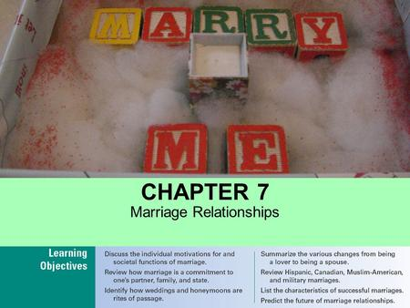 CHAPTER 7 Marriage Relationships. Motivations for and Functions of Marriage Marriage as a Commitment Cold Feet? Marriage as a Rite of Passage Changes.