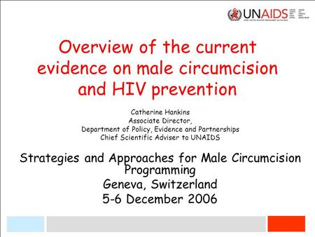Overview of the current evidence on male circumcision and HIV prevention Catherine Hankins Associate Director, Department of Policy, Evidence and Partnerships.