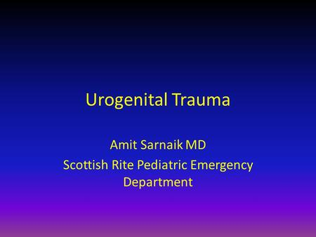 Amit Sarnaik MD Scottish Rite Pediatric Emergency Department