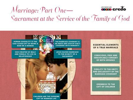 Slide 1 This is a slide for the first movement. Why is marriage more than a contract? After the creation of Adam, the Lord God said: 'It is not good that.