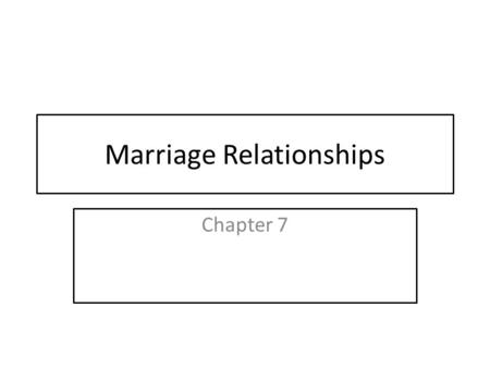 Marriage Relationships Chapter 7. Lecture/Discussion outline The Engagement stage and motivations for marriage Societal Functions of Marriage How marriage.