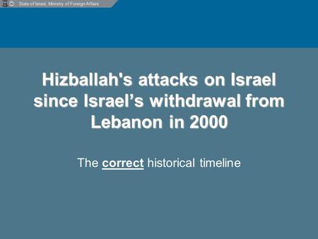 State of Israel, Ministry of Foreign Affairs Hizballah's attacks on Israel since Israel's withdrawal from Lebanon in 2000 The correct historical timeline.