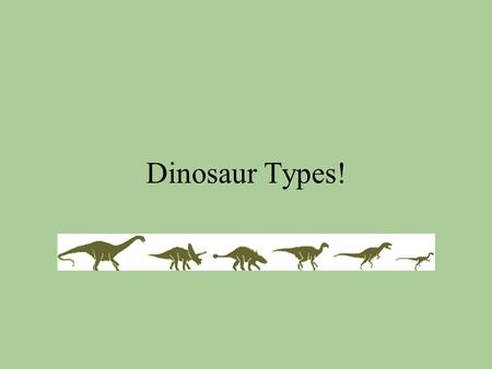 Dinosaur Types!. Two main types of dinosaurs: Saurischia: ( sore-is-che-a ) Ornithischia: (or-nith-is-che-a) Both carnivores and herbivores. Only herbivores.