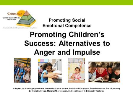 Promoting Social Emotional Competence Promoting Children's Success: Alternatives to Anger and Impulse.