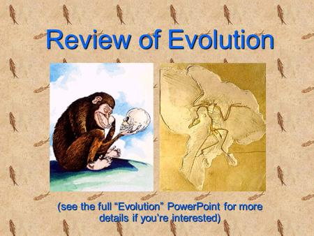 "Review of Evolution (see the full ""Evolution"" PowerPoint for more details if you're interested)"