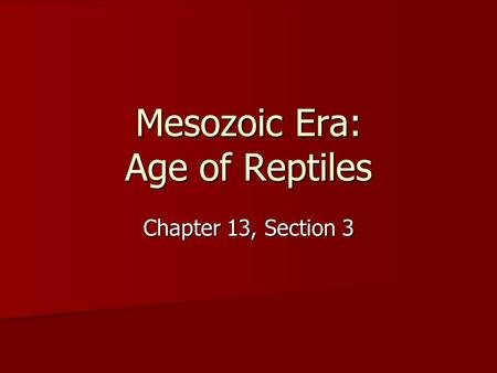 Mesozoic Era: Age of Reptiles Chapter 13, Section 3.