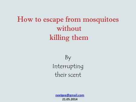 How to escape from mosquitoes without killing them By Interrupting their scent 21.05.2014.