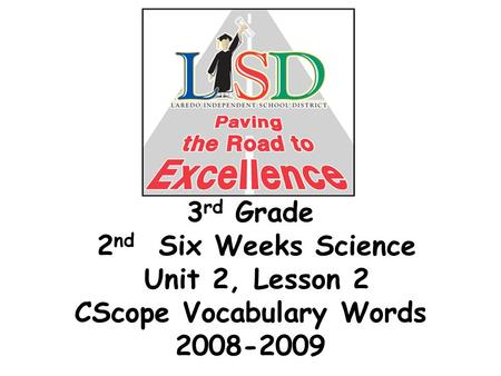 3 rd Grade 2 nd Six Weeks Science Unit 2, Lesson 2 CScope Vocabulary Words 2008-2009.