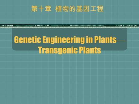 Genetic Engineering in Plants — Transgenic Plants 第十章 植物的基因工程.