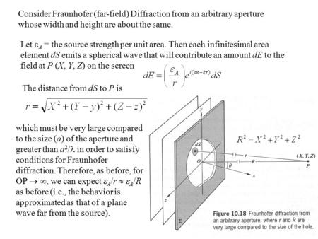Consider Fraunhofer (far-field) Diffraction from an arbitrary aperture whose width and height are about the same. Let  A = the source strength per unit.