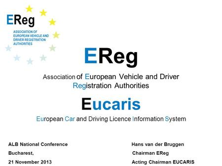 EReg Association of European Vehicle and Driver Registration Authorities Eucaris European Car and Driving Licence Information System ALB National Conference.