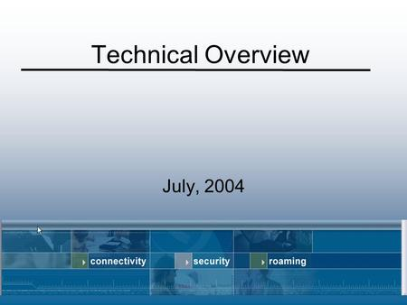 Technical Overview July, 2004.