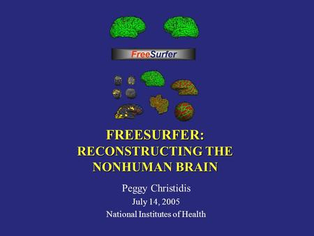 FREESURFER: RECONSTRUCTING THE NONHUMAN BRAIN Peggy Christidis July 14, 2005 National Institutes of Health.