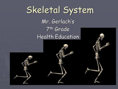 Skeletal System Mr. Gerlach's 7 th Grade Health Education.