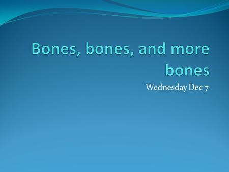 Wednesday Dec 7. Bone Classification The skeleton can be divided into ______ broad categories based on their individual shapes Objective: To learn the.