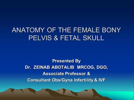 ANATOMY OF THE FEMALE BONY PELVIS & FETAL SKULL Presented By Dr. ZEINAB ABOTALIB MRCOG, DGO, Associate Professor & Consultant Obs/Gyna Infertility & IVF.